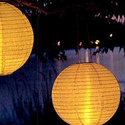 Solar Powered 10 Inch White Lantern Amber Led