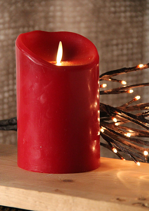 5 Inch Burgundy Moving Wick Flameless Candle
