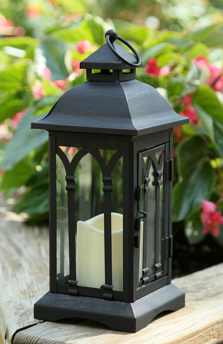 Illuminated Garden: Flameless 12 Inch Black Metal Candle