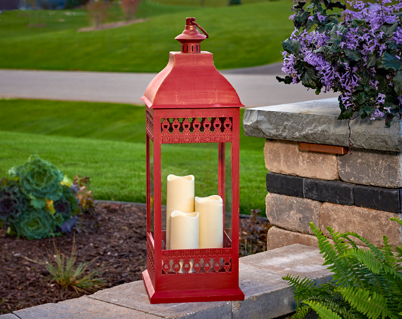 Red 28 5 Inch Triple Pillar Flameless Outdoor Candle
