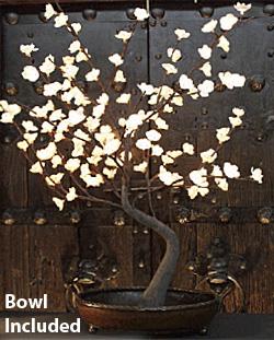 Illuminated Garden Lighted White Bonsai Tree 128 Lights