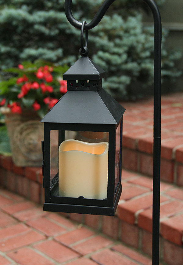 Outdoor Mini Square Battery Operated Candle Lantern Timer