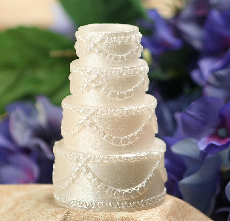 White Flickering Wedding Cake Votive Battery Operated