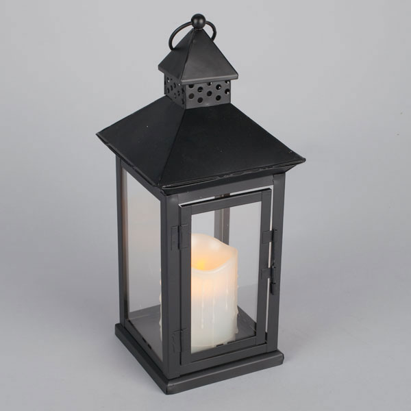 outdoor candles lanterns and lighting. Outdoor Black Metal Flameless LED Lantern - Timer Candles Lanterns And Lighting C