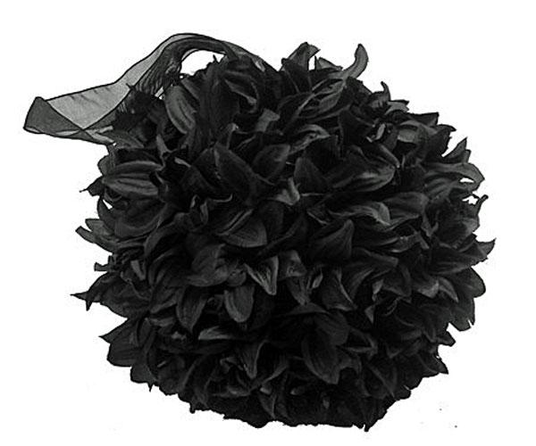 Illuminated garden silk flower pomander ball black 6 inch organza silk flower pomander ball black 6 inch organza ribbon mightylinksfo