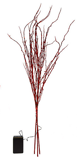 Battery Operated Red Glitter Branch 36 Inch 60 Led S Timer