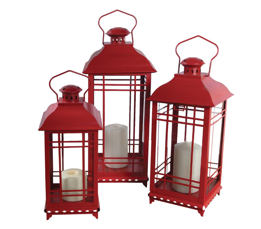 illuminated garden red metal and glass candle lanterns set of 3. Black Bedroom Furniture Sets. Home Design Ideas