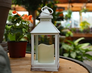 Flameless Outdoor Antique White Candle Lantern   9.5 Inch